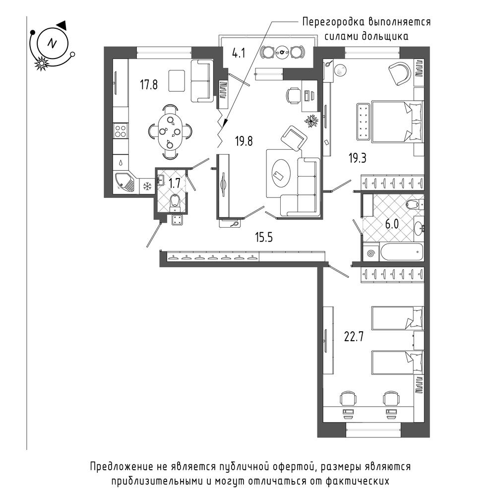 3-комнатная квартира №70 в: ЖК Эталон на Неве: 104.9 м²; этаж: 6 - купить в Санкт-Петербурге