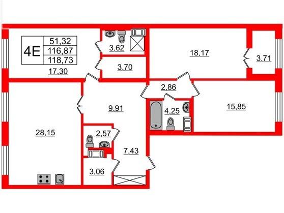 3-комнатная квартира, 117.3 м²; этаж: 7 - купить в Санкт-Петербурге