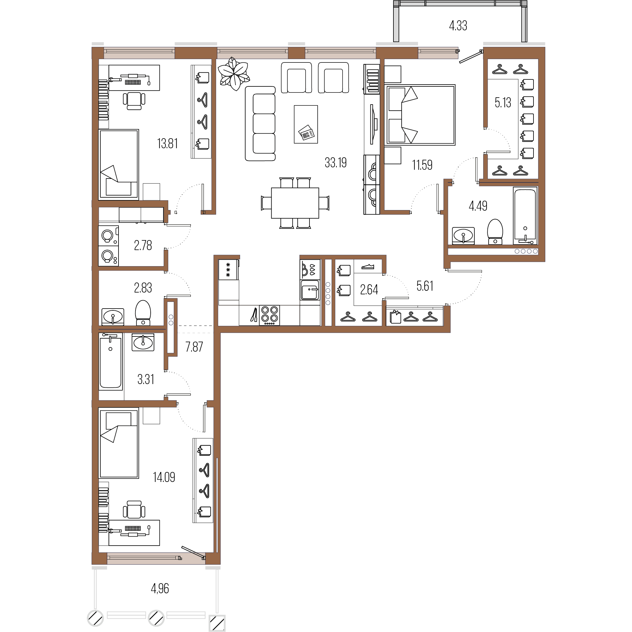 3-комнатная квартира, 107.34 м²; этаж: 7 - купить в Санкт-Петербурге