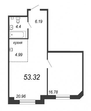 1-комнатная квартира, 53.32 м²; этаж: 2 - купить в Санкт-Петербурге