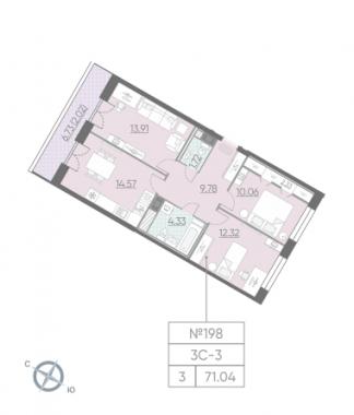 3-комнатная квартира, 71.04 м²; этаж: 10 - купить в Санкт-Петербурге