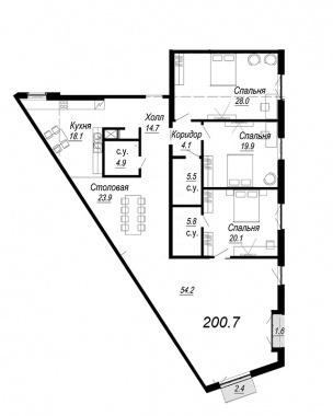 4-комнатная квартира, 200.7 м²; этаж: 6 - купить в Санкт-Петербурге