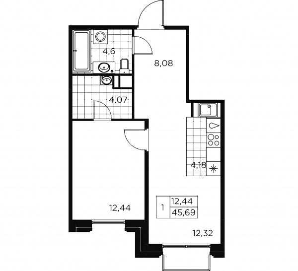 1-комнатная квартира, 45.69 м²; этаж: 8 - купить в Санкт-Петербурге