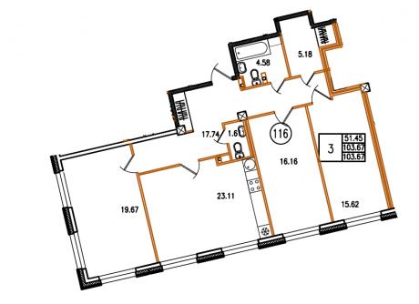 3-комнатная квартира №63/14А в: Monodom на Малом: 103.67 м²; этаж: 2 - купить в Санкт-Петербурге