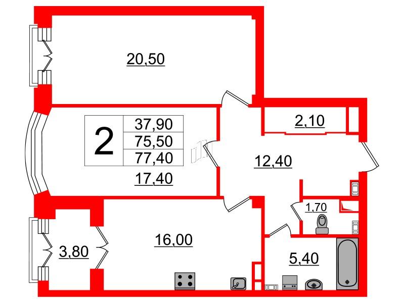 2-комнатная квартира, 75.5 м²; этаж: 3 - купить в Санкт-Петербурге