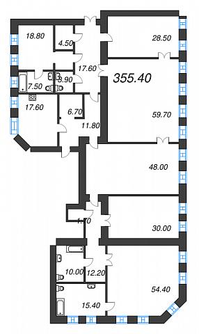 6-комнатная квартира №41 в: Три грации: 355.4 м²; этаж: 2 - купить в Санкт-Петербурге