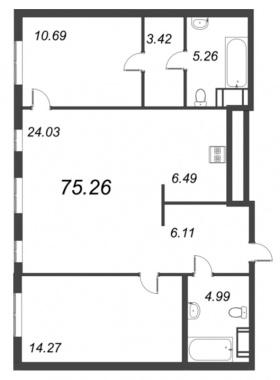 2-комнатная квартира, 75.26 м²; этаж: 9 - купить в Санкт-Петербурге