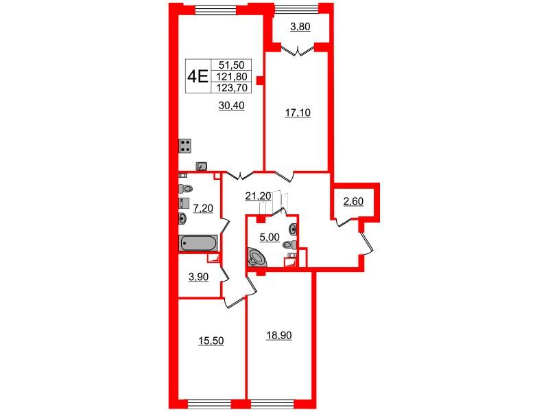 3-комнатная квартира, 121.8 м²; этаж: 2 - купить в Санкт-Петербурге
