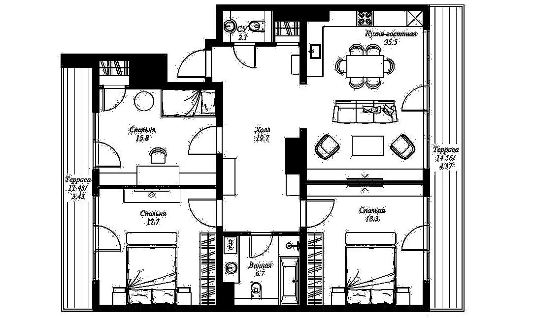 3-комнатная квартира №70 в: ЖК Монополист: 113.5 м²; этаж: 10 - купить в Санкт-Петербурге