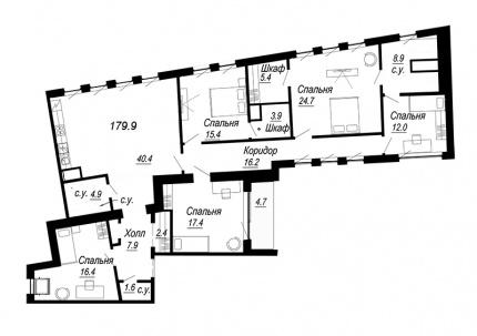 4-комнатная квартира, 179.9 м²; этаж: 7 - купить в Санкт-Петербурге