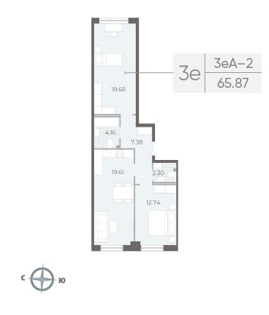 2-комнатная квартира №17А в: Neva Residence: 65.87 м²; этаж: 3 - купить в Санкт-Петербурге