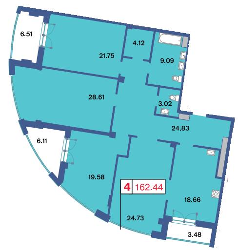 4-комнатная квартира, 153.9 м²; этаж: 12 - купить в Санкт-Петербурге