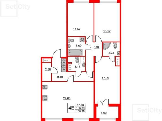 3-комнатная квартира, 106.39 м²; этаж: 2 - купить в Санкт-Петербурге