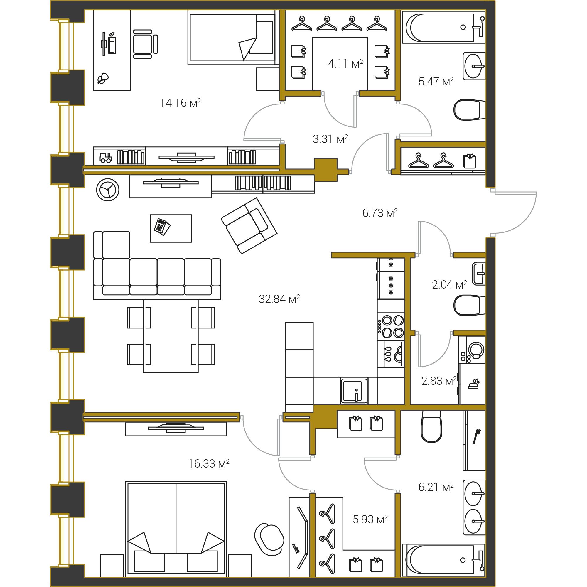 2-комнатная квартира №16 в: Институтский,16: 99.96 м²; этаж: 14 - купить в Санкт-Петербурге