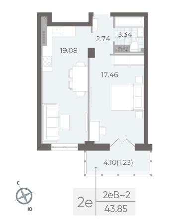 1-комнатная квартира №17А в: Neva Residence: 43.85 м²; этаж: 5 - купить в Санкт-Петербурге