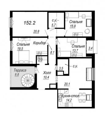 5-комнатная квартира №27 в: Meltzer Hall: 152.2 м²; этаж: 8 - купить в Санкт-Петербурге
