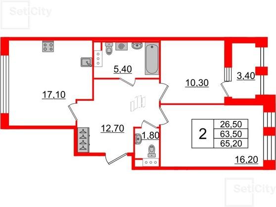 2-комнатная квартира №3 в: Светлана парк: 63.5 м²; этаж: 10 - купить в Санкт-Петербурге