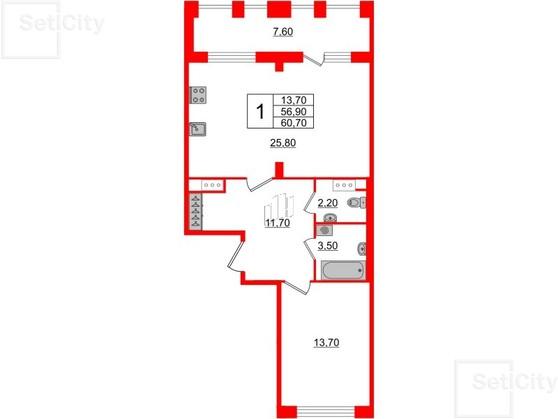 1-комнатная квартира  №255 в Svetlana Park: 56.9 м², этаж 9 - купить в Санкт-Петербурге