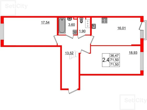 2-комнатная квартира, 71.9 м²; этаж: 4 - купить в Санкт-Петербурге