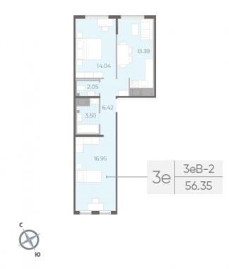 2-комнатная квартира, 56.35 м²; этаж: 14 - купить в Санкт-Петербурге