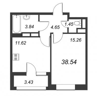 1-комнатная квартира №3А в: Терра: 38.54 м²; этаж: 7 - купить в Санкт-Петербурге