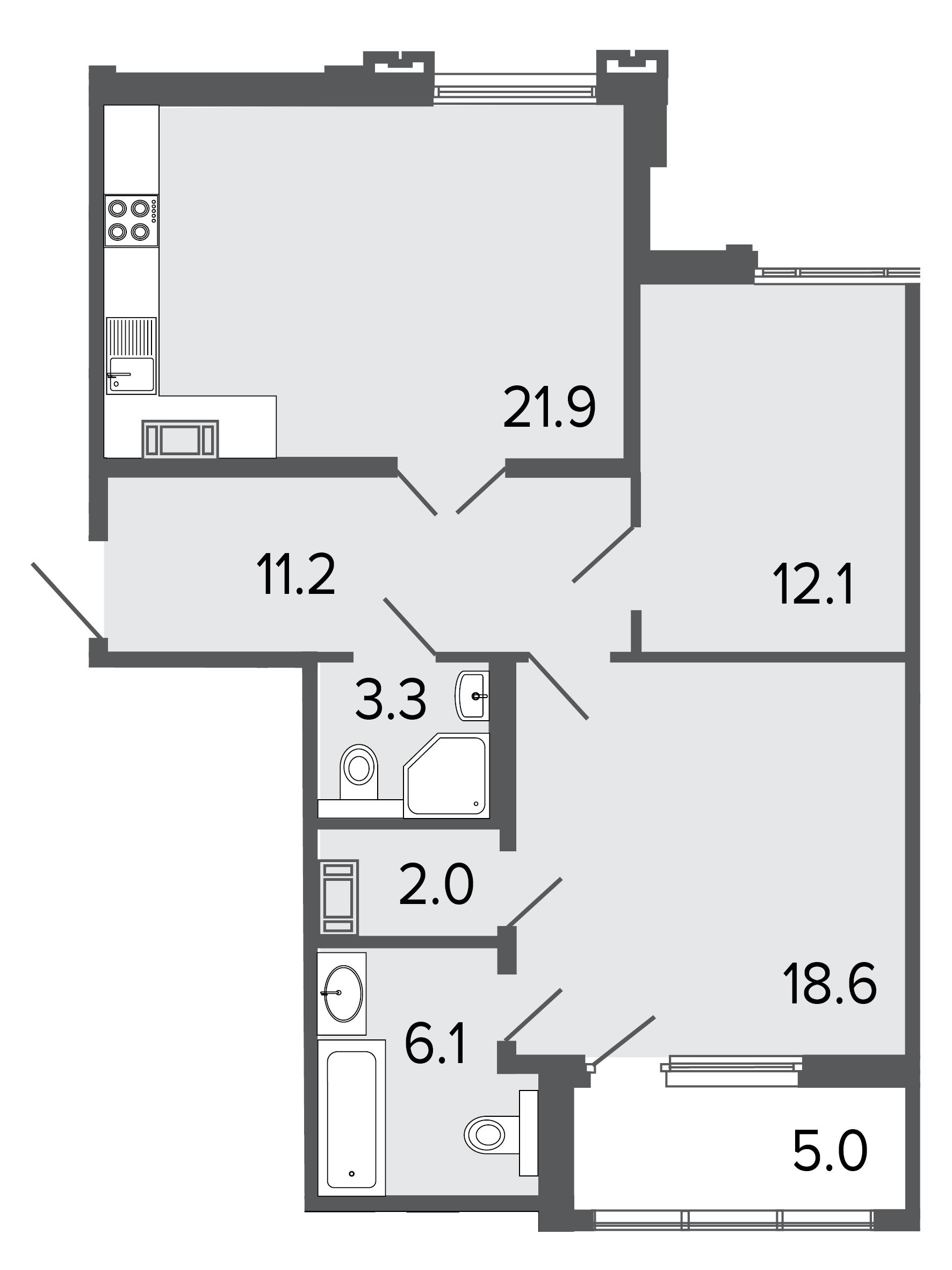 2-комнатная квартира, 75.2 м²; этаж: 8 - купить в Санкт-Петербурге