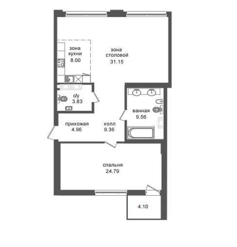 1-комнатная квартира №32А в: Приоритет: 92.23 м²; этаж: 5 - купить в Санкт-Петербурге