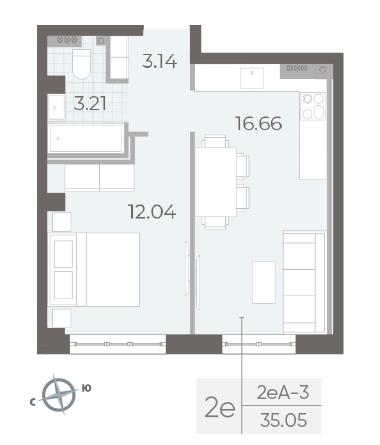 1-комнатная квартира №17А в: Neva Residence: 35.05 м²; этаж: 4 - купить в Санкт-Петербурге