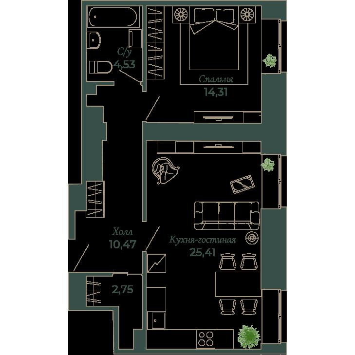 2-комнатная квартира, 57 м²; этаж: 2 - купить в Санкт-Петербурге