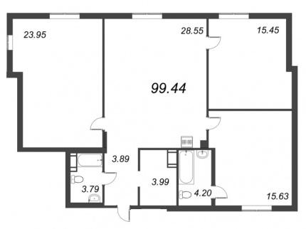3-комнатная квартира №72 в: ID Moskovskiy: 99.44 м²; этаж: 6 - купить в Санкт-Петербурге