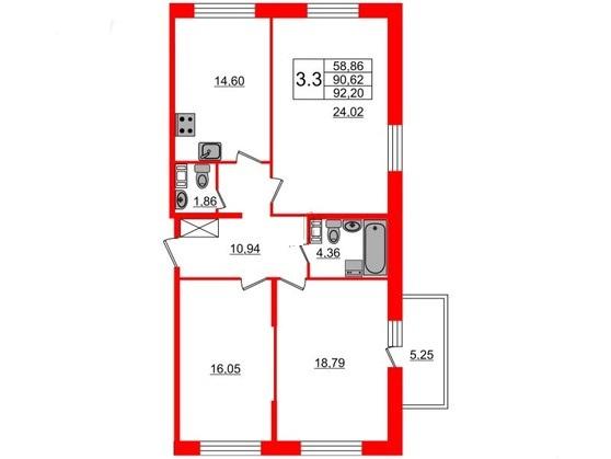 3-комнатная квартира, 90.62 м²; этаж: 7 - купить в Санкт-Петербурге