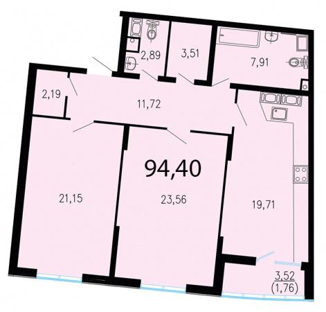 2-комнатная квартира №1 в: ЖК Пять звезд: 97.3 м²; этаж: 6 - купить в Санкт-Петербурге