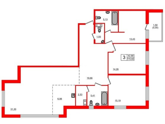 4-комнатная квартира, 115.82 м²; этаж: 13 - купить в Санкт-Петербурге