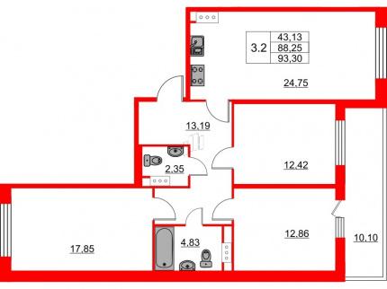 3-комнатная квартира №66 в: Притяжение: 88.25 м²; этаж: 8 - купить в Санкт-Петербурге