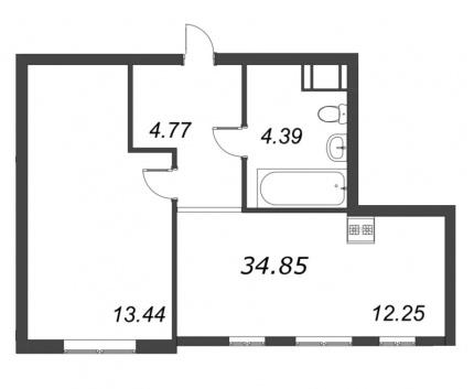 1-комнатная квартира, 34.85 м²; этаж: 8 - купить в Санкт-Петербурге