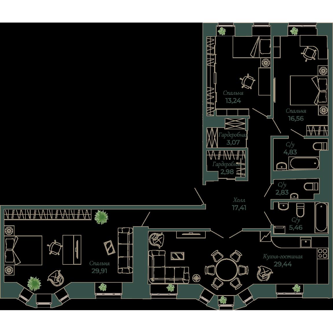4-комнатная квартира, 128.1 м²; этаж: 3 - купить в Санкт-Петербурге