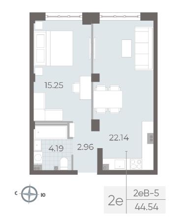1-комнатная квартира №17А в: Neva Residence: 44.54 м²; этаж: 3 - купить в Санкт-Петербурге