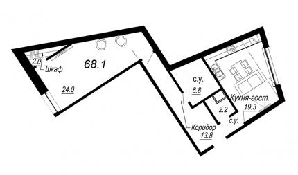1-комнатная квартира, 68.1 м²; этаж: 3 - купить в Санкт-Петербурге
