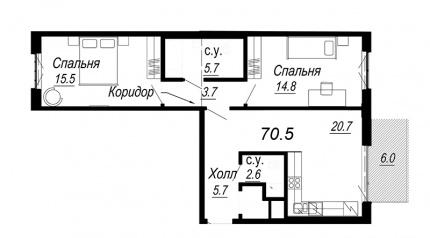 2-комнатная квартира №27 в: Meltzer Hall: 70.5 м²; этаж: 5 - купить в Санкт-Петербурге