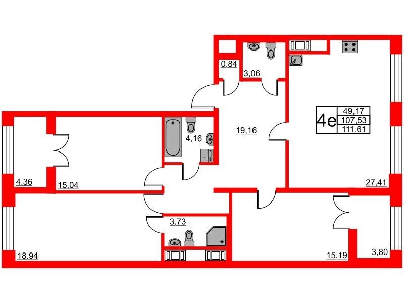 3-комнатная квартира, 107.53 м²; этаж: 8 - купить в Санкт-Петербурге