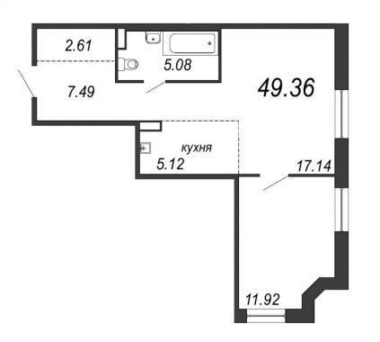1-комнатная квартира, 49.36 м²; этаж: 8 - купить в Санкт-Петербурге
