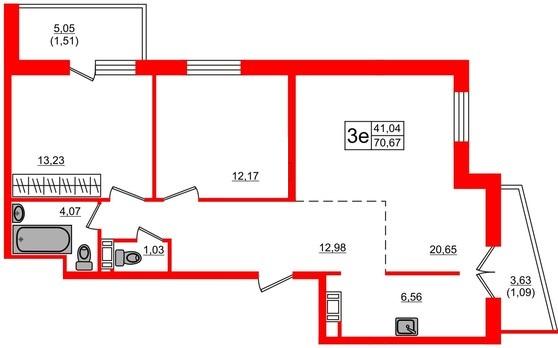 3-комнатная квартира, 71.5 м²; этаж: 17 - купить в Санкт-Петербурге