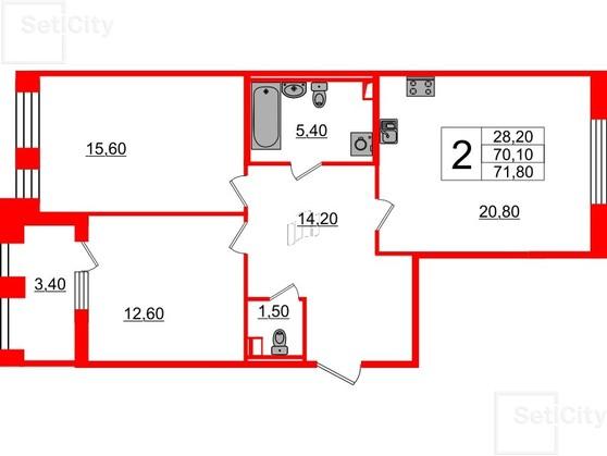 2-комнатная квартира, 70.1 м²; этаж: 2 - купить в Санкт-Петербурге