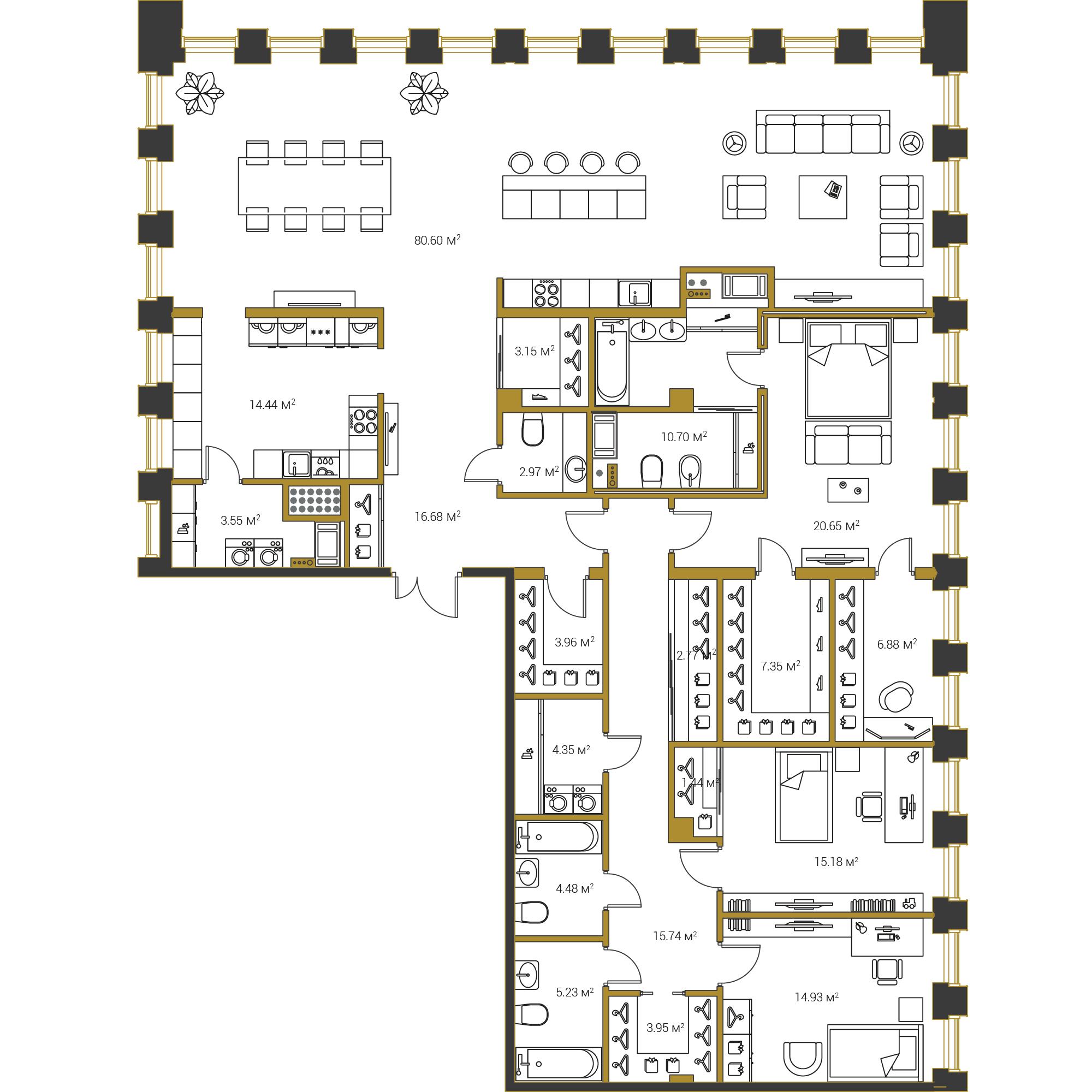 3-комнатная квартира, 239 м²; этаж: 19 - купить в Санкт-Петербурге