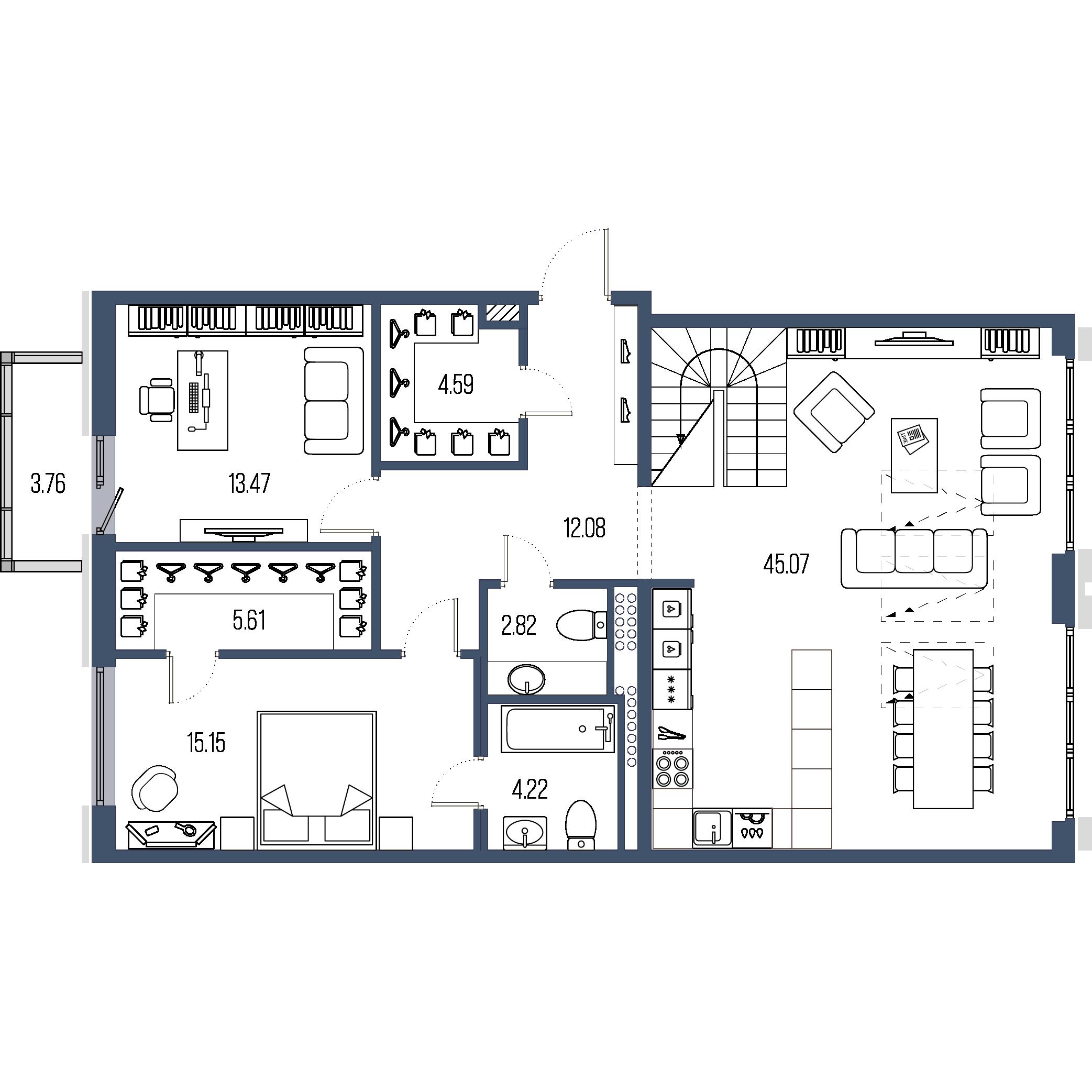 4-комнатная квартира, 162.3 м²; этаж: 7 - купить в Санкт-Петербурге