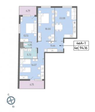 3-комнатная квартира, 94.16 м²; этаж: 3 - купить в Санкт-Петербурге