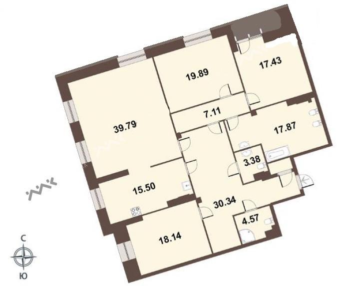 4-комнатная квартира №1 к.3 в: ЖК Смольный парк 2 очередь: 177.4 м²; этаж: 5 - купить в Санкт-Петербурге
