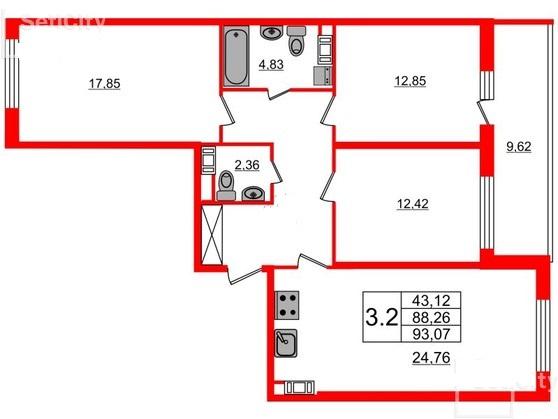 3-комнатная квартира №66 в: Притяжение: 88.26 м²; этаж: 9 - купить в Санкт-Петербурге