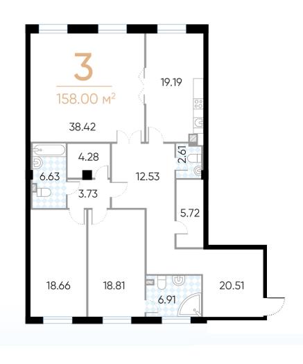 3-комнатная квартира, 158 м²; этаж: 3 - купить в Санкт-Петербурге