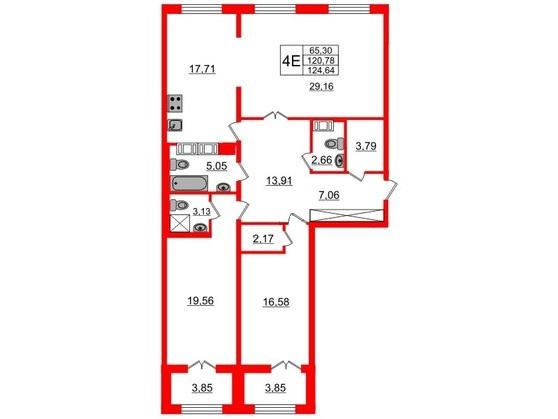 3-комнатная квартира, 120.6 м²; этаж: 8 - купить в Санкт-Петербурге